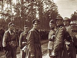 9 мая 1945 года Капитуляция немцев на косе Фриш-Нерунг. Восточная Пруссия. Немецкие офицеры принимают от советского офицера условия капитуляции и порядок сдачи в плен