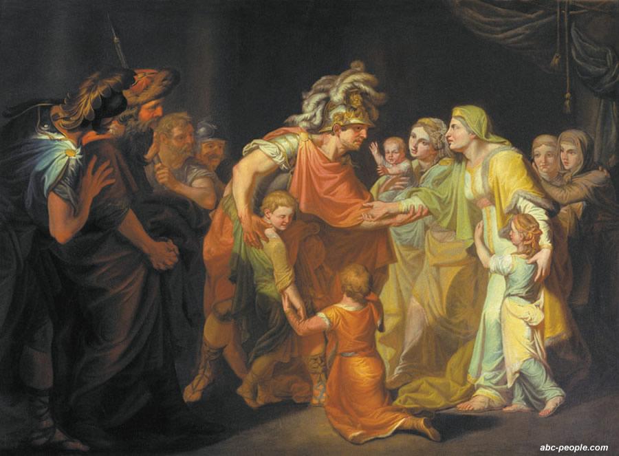 Великий князь Святослав, целующий мать и детей своих по возвращении с Дуная в Киев