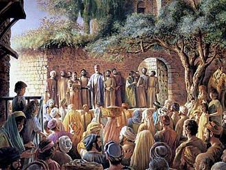 Апостол Петр выступил вперед и произнес свою первую проповедь